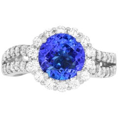 2.09 Carat Round Tanzanite and 1.03 Carat White Diamond Ring