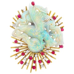 14 Karat Gold, Carved Opal, Cabochon Ruby and 1.20 Carat Diamond Clip-Brooch