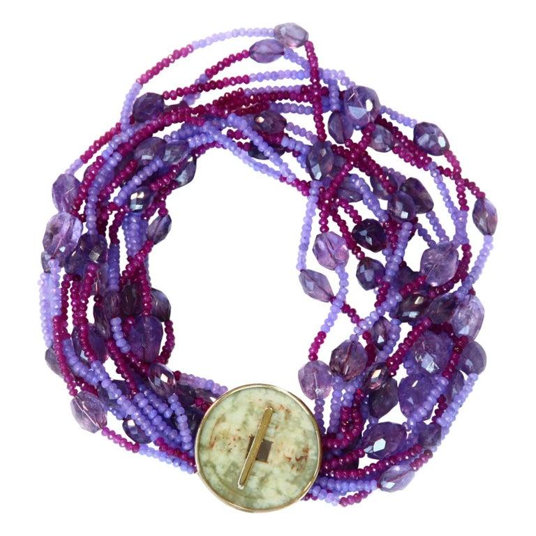 Necklace With Antiques Jade Amethyst Rubelite Lavander Jade Gold