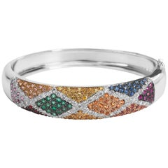 Salavetti Diamond and Multi-Color Stone Bangle in 18 Karat Gold 1.24 Carat