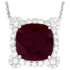 22.11 Carat Cushion Cut Ruby and Diamond Necklace