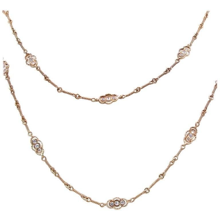 "Lester Lampert Original Sillouette ""Demi-Pointe"" Diamond Necklace"
