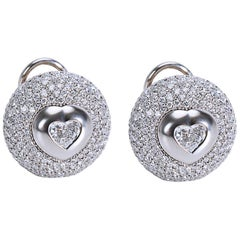 Pasquale Bruni Pave Diamond Heart Center Button Earrings in 18K Gold 4.79 Carats