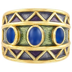 AMR Shaker 18 Karat Wide Gold, Three Oval Cabochon Sapphire and Enamel Ring