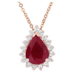 1.81 Carat Ruby and Diamond Pear Shaped Necklace