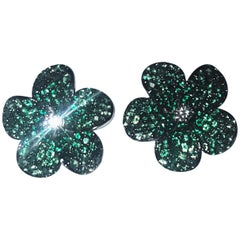 18 Karat Tsavorite and Diamond Flower Stud Earrings