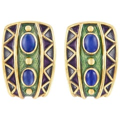 18 Karat Gold, Four Oval Cabochon Sapphire and Enamel Clip-On Earrings
