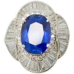 SSEF Certified 5.73 Carat Blue Sapphire Burma No Heat and Diamond Ring