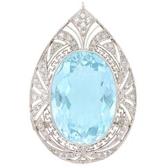 15.25 Carat Oval Aquamarine, Platinum and Diamond 'Teardrop' Pin