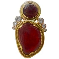 Michael Kneebone Rhondonite Ruby Cabochon Diamond Cocktail Ring