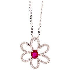 0.52 Carat Ruby and 0.28 Carat Diamond Flower Necklace