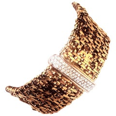 1960s Orlando Orlandini 18 Karat Fiandra Woven Gold and Diamonds Bracelet