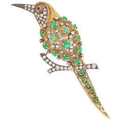 Gold, Oxidized Silver, 1.20 Carat Diamond and Emerald Bird Brooch