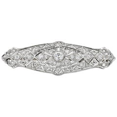 Art Deco Diamond Estate Pin in Platinum, circa 1920s