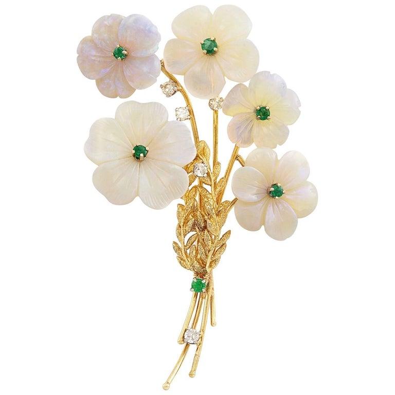 18 Karat Gold, Five Carved Opal, Emerald and Diamond Flower Brooch