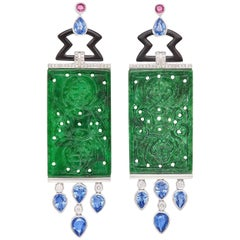 White Gold, Carved Jade, Black Onyx, Sapphire, Pink Sapphire and Diamond Earring