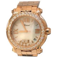 Chopard Happy Sport Rose Gold Diamond Bezel Bracelet Ladies Watch 277481-5002