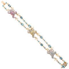 Rose Gold Fancy Link Gemstone and Diamond Strap Bracelet