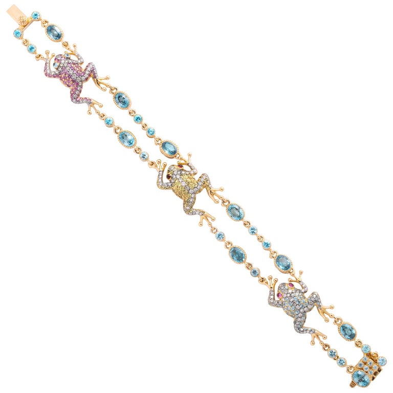 Rose Gold Fancy Link Gemstone and Diamond Strap Bracelet