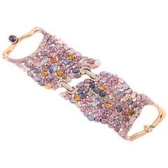 Rose Gold Diamond and Sapphire Strap Bracelet