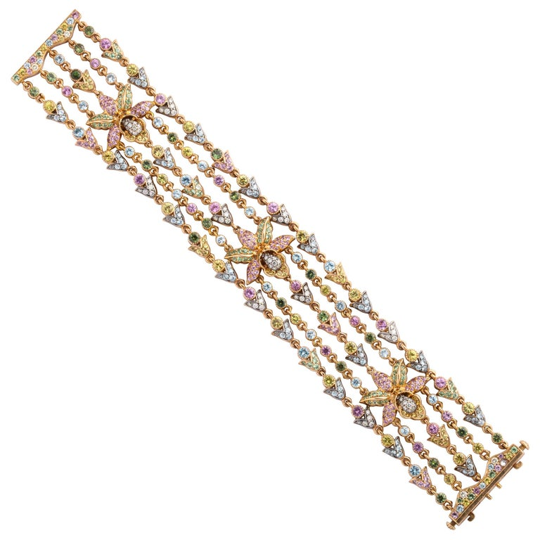 Rose Gold and Fancy Link Gemstone and Diamond Strap Bracelet