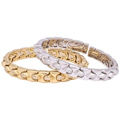 Yellow Gold and White Gold Diamond Stack Bracelets
