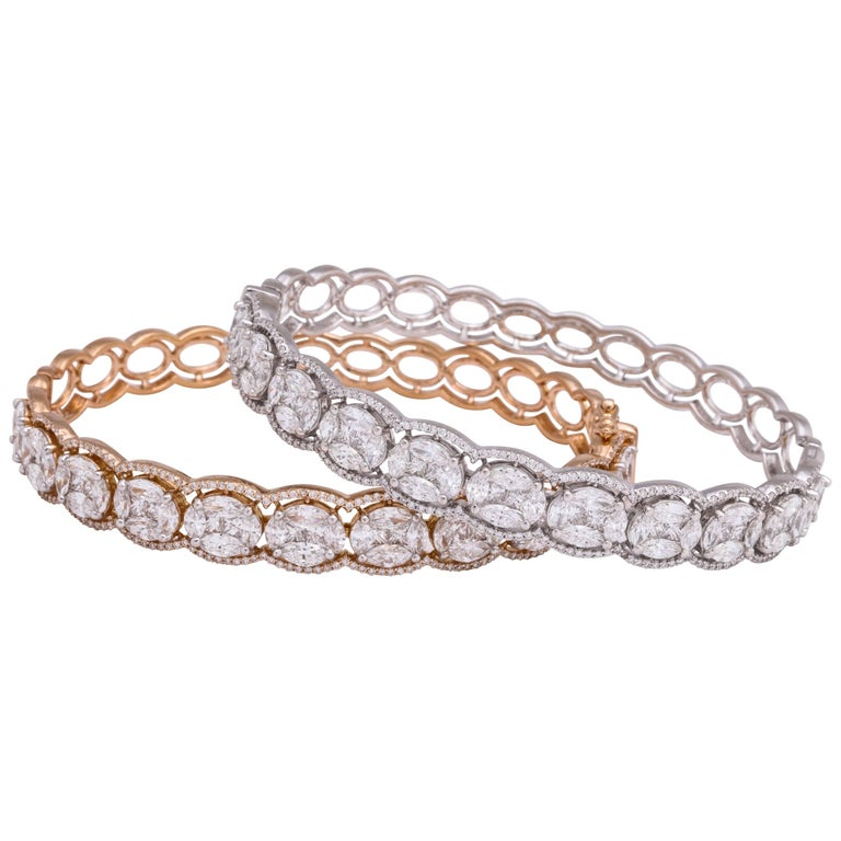 Diamond Rose Gold and White Gold Hinged Stack Bracelets
