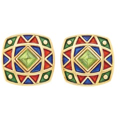 18 Karat Gold, Cabochon Tourmaline and Enamel Clip-On Earrings