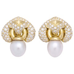 Yellow Gold Diamond and South Sea Pearl Earrings
