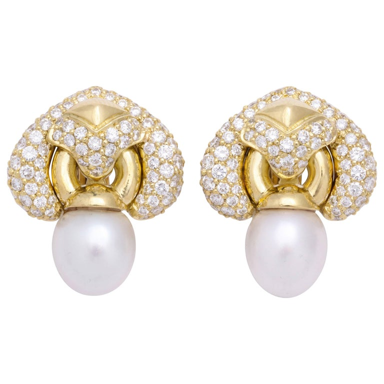 Yellow Gold Diamond and South Sea Pearl Earrings For Sale