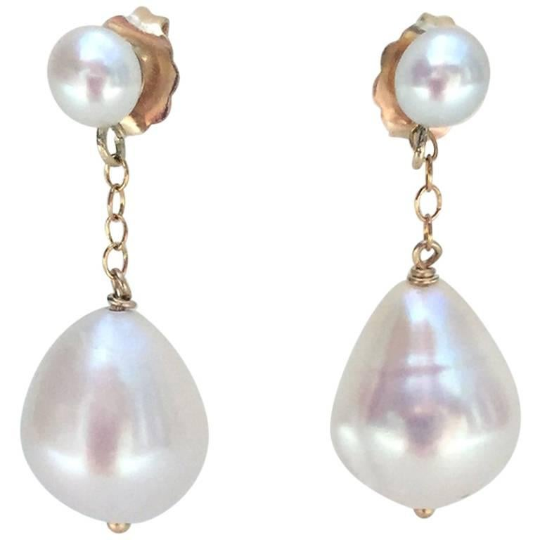 Tear Drop Pearl Earrings With 14 Karat Gold Chain And Stud For