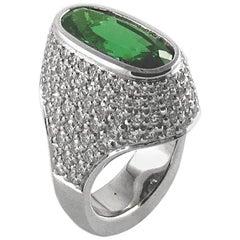 White Gold Ring with Tsavorite and Diamonds
