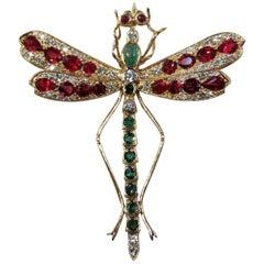 Dragonfly Pin, 14 Karat Yellow Gold