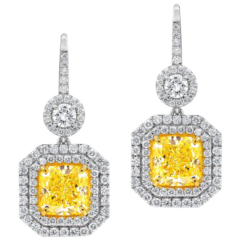 Gia Certified 5 63 Carat Canary Yellow Diamond Earrings For