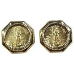 $5 Gold Coin Earrings, 22 Karat US, 1993