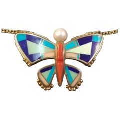 Ray Tracey Multi-Stone Inlay Butterfly Necklace, 14 Karat Yellow Gold