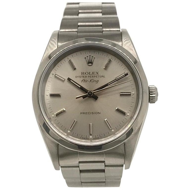 Rolex Stainless Steel Air King Oyster Bracelet Wristwatch, circa 1990