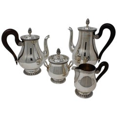 Four-Piece Christofle Tea Set, Silver Plated, Malmaison-Beauharnais Pattern