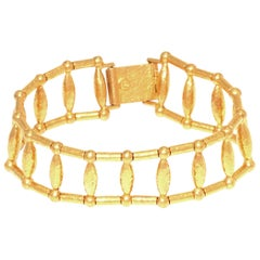 Gurhan Small Wheat Bracelet with Gale Chain in 24 Karat Gold