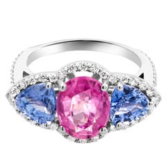 Pink and Blue Ceylon Sapphire Diamond Cocktail Ring Weighing 6.05 Carat