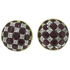 3.50 Carat Total Weight Ruby Diamond Estate Earrings 18 Karat Yellow Gold
