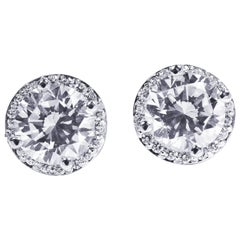 Diamond Halo 18 Karat White Gold Earrings Custom Order Your Old Diamond Studs