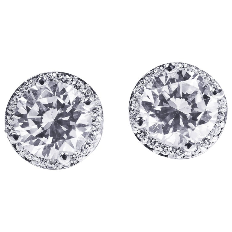 Diamond Halo 18 Karat White Gold Earrings Custom Order Your Old Diamond Studs For Sale