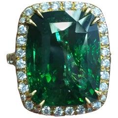 Estate Green Tsavorite Cushion and Diamond Cocktail Ring in 18 Karat Yellow Gold