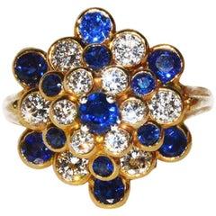 Beautiful, Classic Hammerman Gold, Sapphire and Diamond Cluster Ring