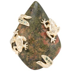 Frog Cocktail Ring Vintage 14 Karat Yellow Gold Jasper Peridot