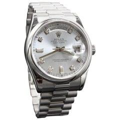 Rolex President Date 118206 Original Blue Glacier Diamond Dial in Platinum