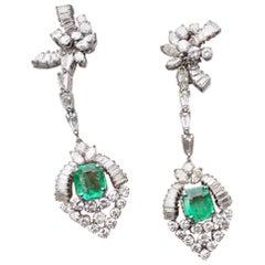 Midcentury 14 Karat Gold Estate Pair of 7 Carat VS Diamond Emerald Earrings