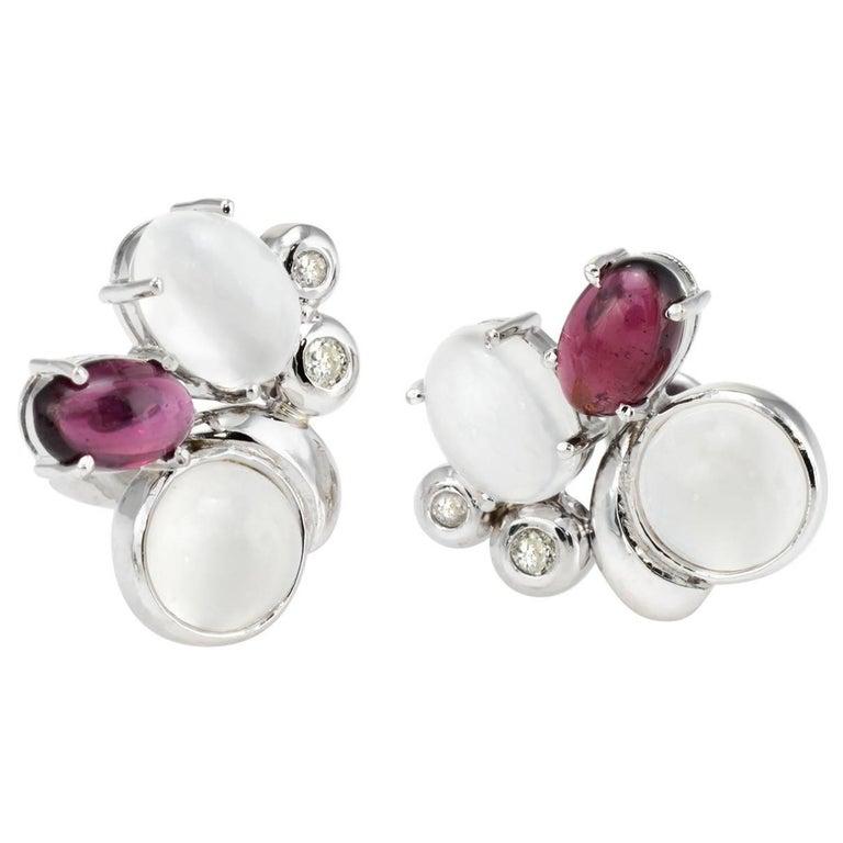Moonstone Garnet Diamond Cluster Earrings 14 Karat White Gold