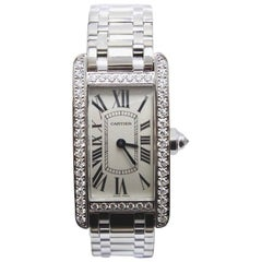 Cartier Tank Americaine 2489 Factory Diamond Bezel in 18 Karat White Gold